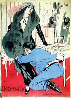 Ludwig Kainer (1885-1967, German), 1913, Liebeswahn, Print by Dinse, Eckert und Co., H: 149.35 cm., W: 110.49 cm.