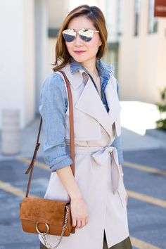 Outfit Ideas, Style Inspiration, Spring Fashion, Trench Vest, Chloe Faye Bag, Dior Reflected Sunglasses