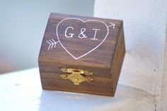 wooden engagement ring box with initials