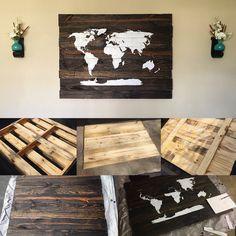 DIY Pallet Sign | World Map
