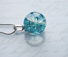 Mini Real Flower Necklace Blue Resin Ball di NaturalPrettyThings, $28.00