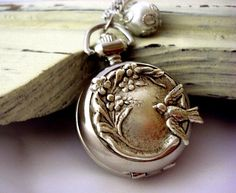 Art Nouveau-style Pocket Watch Necklace with Floral Bird front in Antique Silver, Pearl Vintage Silver, Antique Silver, Antique Jewelry, Vintage Jewelry, Silver Jewelry, Vintage Lockets, Silver Bracelets, Jewelry Box, Jewelry Accessories