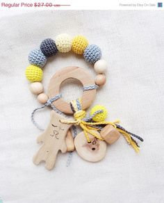 f229ef18fc305a SALE Baby teething ring grey and yellow rattle by kangarusha Collana Da  Infermiera, Collana Dentizione