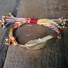 Feather braid bracelet in multi color