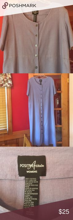 🛍JUST IN- 1X Purple Maxi 🌟This maxi length dress looks and feels so good on! It can also be left open and worn as a duster. Length: 53 inches; Bust: 25 inches. EUC 🤗 Positive Attitude Dresses Maxi