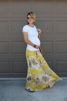 cool Sunday Style- White Tee and Maxi Skirt Maternity Style by http://www.globalfashionista.xyz/pregnancy-fashion/sunday-style-white-tee-and-maxi-skirt-maternity-style/