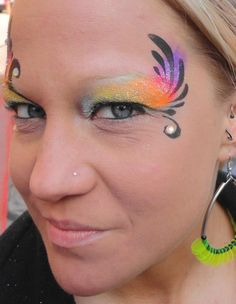 Princess and Pirates Face Painting -  Havana Sunset eye design! 1/2