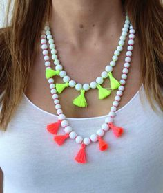 White and Tassel Necklace. Neon Necklace. by lizaslittlethings, $32.00