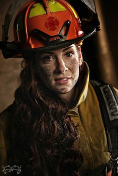 """More """"Hot"""" images from my firefighter shoot Firefighter Pictures, Female Firefighter, Fire Bible, Military Women, Fire Heart, Girls Uniforms, Fire Department, Fire Trucks, Riding Helmets"""