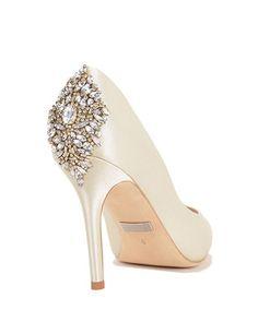 Jewel-encrusted bridal pumps by Badgley Mischka