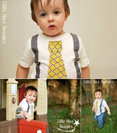 Mustard Yellow & Gray Tie Suspender Shirt from Little Star Sweeper :) Back to School Boy Outfit