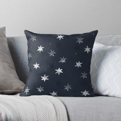 'Antique physics: snowflake drawings from microscope images (blue)' Throw Pillow by AntiqueScience Personalized Pillow Cases, Custom Pillow Cases, Custom Pillows, Blue Throw Pillows, Throw Pillow Cases, Microscopic Images, Collection Of Poems, Snowflakes, Vibrant Colors