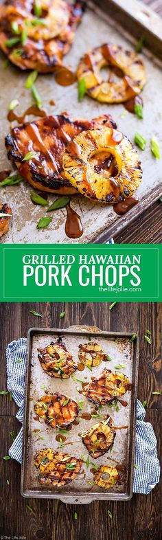 These Grilled Hawaiian Pork Chops are an easy recipe for a quick weeknight dinner. It's really easy to marinate in things like soy sauce and brown sugar and goes great with grilled pineapple and rice. This mouthwatering sweet and savory dish is the perfec Grilling Recipes, Meat Recipes, Cooking Recipes, Healthy Recipes, Recipes Dinner, Dinner Menu, Dishes Recipes, Shrimp Recipes, Recipes For Pork Chops