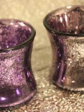 PURPLE MERCURY GLASS VOTIVES ASSORTED Hurricane
