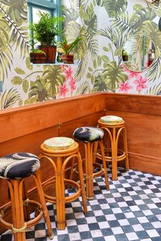 Resort interior: Love the decor at Leos Oyster Bar // stacieflinner. Resort Interior, Bar Interior, Tropical Design, Tropical Decor, Restaurant Design, Restaurant Bar, Hawaiian Restaurant, Upholstered Bar Stools, Kabobs