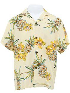 ab8201963 Halekahiki Cream Rayon Boys Hawaiian Shirt Boys Hawaiian Shirt, Cuban, Palms,  Pineapple,