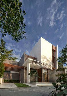 Most Popular Modern Home Facade Architecture Ideas Modern Tropical House, Tropical House Design, House Front Design, Modern House Design, Facade Design, Exterior Design, Modern Minimalist House, Home Building Design, Facade Architecture