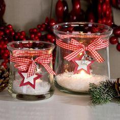 Windlicht Starshine Höhe 11cm Klarglas Weiß / Rot