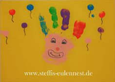 Fasching, Karneval, Basteln mit Kindern , KITA, Krippe, Handabdruck, Clown , Luftballon, Luftballons, Fingerfarben, Fasching 2017, Karneval 2017 Carnival Crafts, Carnival Decorations, Carnival Costumes, Clown Crafts, Kindergarten Portfolio, Halloween Art, Elementary Art, Crafts For Teens, Mardi Gras