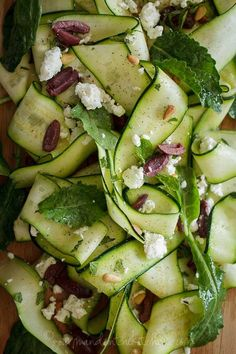 Raw zucchini ribbon salad with olives and mint #recipe #salad #food