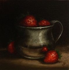 Strawberries in Silver Cup, Original Oil Painting still life by Jane Palmer by JanePalmerArt on Etsy