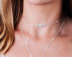 Silver Choker Necklace, Celtic Choker Necklace, Layering Choker, Celtic Knot Jewelry, Boho Choker, Tattoo Necklace, Dainty Choker Silver