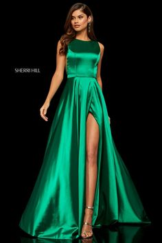 4f341123aa5 Style 52407 from Sherri Hill is a sleeveless prom gown with a high front  slit and. French Novelty