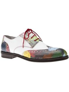 DEL TORO SHOES - leather wingtips w/ multicolored panels & pink stitching