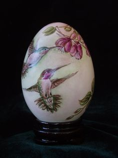 Hummingbirds Flowers and Saying Hand Painted On Goose by Shenyue, $39.98