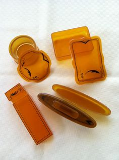 Celluloid art deco vanity set with carved and by islandattitude, $42.00 knh