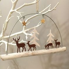 reindeer on a branch.Hanging Christmas decoration.Shoeless joe.Shabby chic.Stars