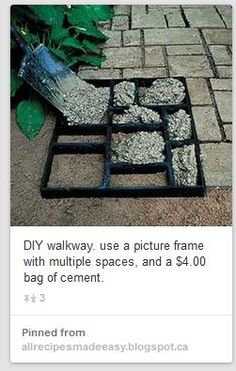 concrete molded brick path using a picture frame. old multi-frame picture frame box used to make stepping stones It's called a collage picture frame. I could do this to my patio and mosaic all the different cement Great way to make the front walk look bet