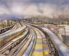 Buy Snow covered train tracks, Watercolour by Alfred Ng on Artfinder. Arches Watercolor Paper, Watercolor Paintings, Watercolour, Getting Up Early, Train Tracks, Time Travel, Railroad Tracks, My Drawings, Winter Wonderland