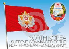 North Korea Supreme Commander flag and coat of arms, vector file, illustration