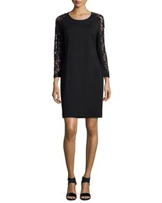 Lace-Sleeve+Sheath+Dress+by+Magaschoni+at+Neiman+Marcus.