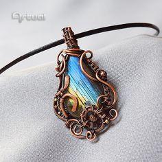 Joyería, joyería de envoltura de alambre, regalo de cumpleaños, joyería de cobre, regalo para ella, alambre envuelto colgante, joyería de piedra preciosa, colgante de labradorita
