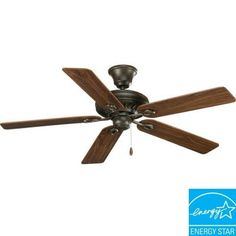 Our bedroom Home Depot $179Progress Lighting AirPro Signature 52 in. Forged Bronze Ceiling Fan-P2521-77 at The Home Depot