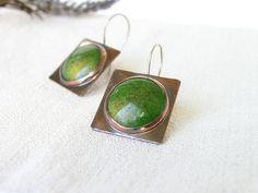 Copper earrings sterling silver enamel artisan jewelry green brown  boho rustic geometry OOAK by Alery bioteam