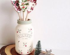 Hand painted large Kilner jar distressed and finished by TillySage