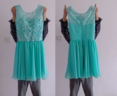 Turquoise Blue Lace Chiffon Bridesmaid Dress, Lace Reception Dress on Etsy, $90.93 AUD