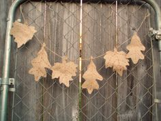 Yesterday afternoon in the using what you have motto, I pulled out my burlap and celebrated the first day of fall by making a leaf garland. Burlap Garland, Leaf Garland, Burlap Projects, Diy Projects, Fall Crafts, Crafts To Make, Elmer's Glue, Primitive Crafts, Leaf Shapes