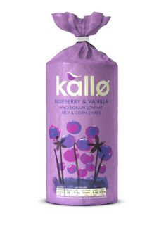 Kallo Blueberry. Big Fish identified connections between the brand and a 'minimal, clean living' Nordic approach to life, according to Haydn-Taylor.  The logo was changed from a leaf to a bird graphic. Haydn-Taylor says, 'The bird represents the freedom the foods give you to enjoy the things you love. Rice cakes are a vehicle for pleasure'.