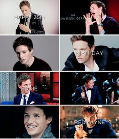 "Happy 35th birthday Eddie Redmayne!! January 6th - ""I'm just one gigantic ball of rancid fear and self-consciousness. I'm entirely fueled by fear, so the fact that I knew it could be a catastrophic disaster made me unable to sleep, and made me work quite hard."" — Eddie Redmayne,"