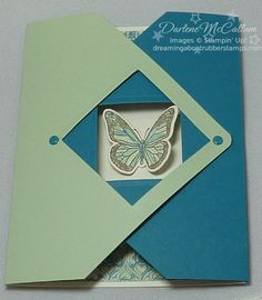 Lovely Fancy Flap Card...in green & blue with a dimensional butterfly...Darlene McCallum: dreamingaboutrubberstamps.