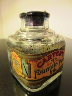 Carters Glass Ink Bottle Cork Cap New Blue Black Fountain Pen Antique Glass Bottles, Empty Bottles, Fountain Pen Ink, Art Deco Era, Glass Collection, Chemical Science, Blue, Eyes, Ephemera