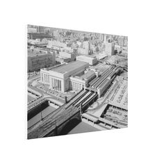 "Pennsylvania Railroad 30th Street Station Stretched Canvas Print -44""X32"" - $376.00- This Vintage Aerial Image was taken shortly after the PRR Station Opening in 1933.  Zazzle's gloss canvas is made from an additive-free cotton-poly blend and features a special ink-receptive coating , our instant-dry gloss canvas produces prints that are fade-resistant for 75 years or more.  #stanrails_store    #Vintage  #PennsylvaniaRailroad  #PhilaPA   #Trainstations    #Canvas"