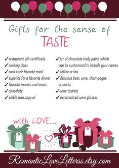 5 Senses gift ideas - What Is The Five Senses Gift? The idea behind the 5 senses gift is brilliant. It's a gift package - 5 Senses Gift For Boyfriend, Cute Boyfriend Gifts, Valentines Gifts For Boyfriend, Valentine Day Gifts, Boyfriend Birthday, Boyfriend Ideas, 1 Year Anniversary Gifts, Boyfriend Anniversary Gifts, Cute Gifts