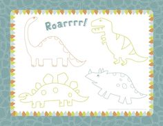 Kids Dinosaur Party Printable Placemat - catches cupcake crumbs and gives them a coloring activity | Free download from Make It Mine Parties | #dinosaurparty