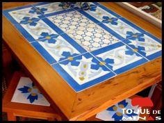Mesa Em Madeira Peroba Rosa Com Ladrilho Hidráulico Artesanal ref.: #0234