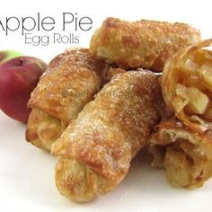 Apple Pie Egg Rolls 3 cups apples, peeled and diced (approx. 3 apples) 4 tablespoons sugar 4 teaspoons flour 3/4 teaspoon cinnamon 1 teaspoon lemon juice 12 Egg Roll Wrappers Oil for Frying